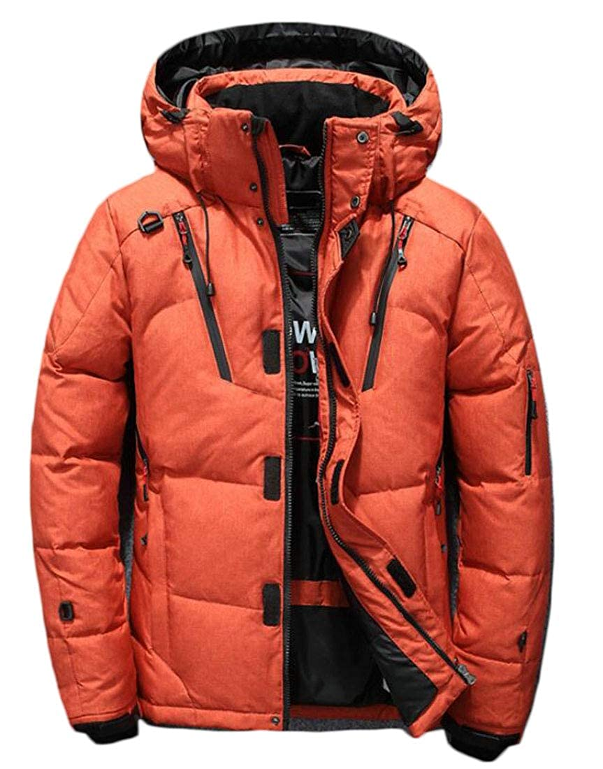 Hajotrawa Mens Trendy Pure Colour Warm Hooded Outdoors Puffer Short Down Coat
