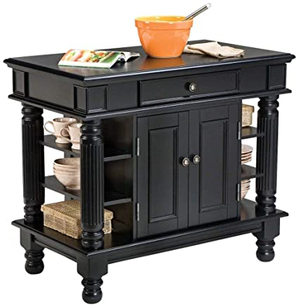 Home Style Kitchen Island | Amazon Com Americana Black Kitchen Island With Open Shelving By