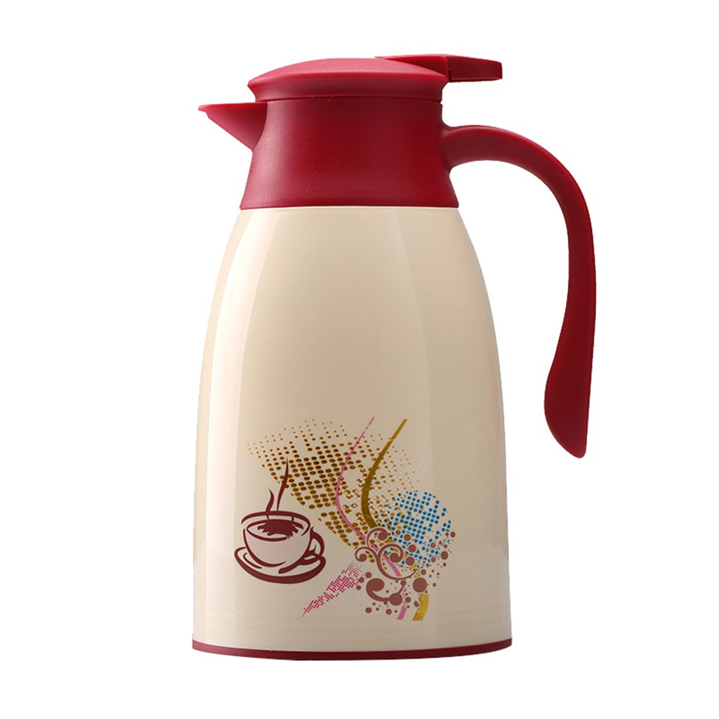 Double Walled Vacuum Insulated Jug Tea Water Coffee Jug/Insulation Pot/Cafetiere Jug/Water Pitcher With Lid Handle Red 1L/1.3L/1.6L (Size : 1.3L)