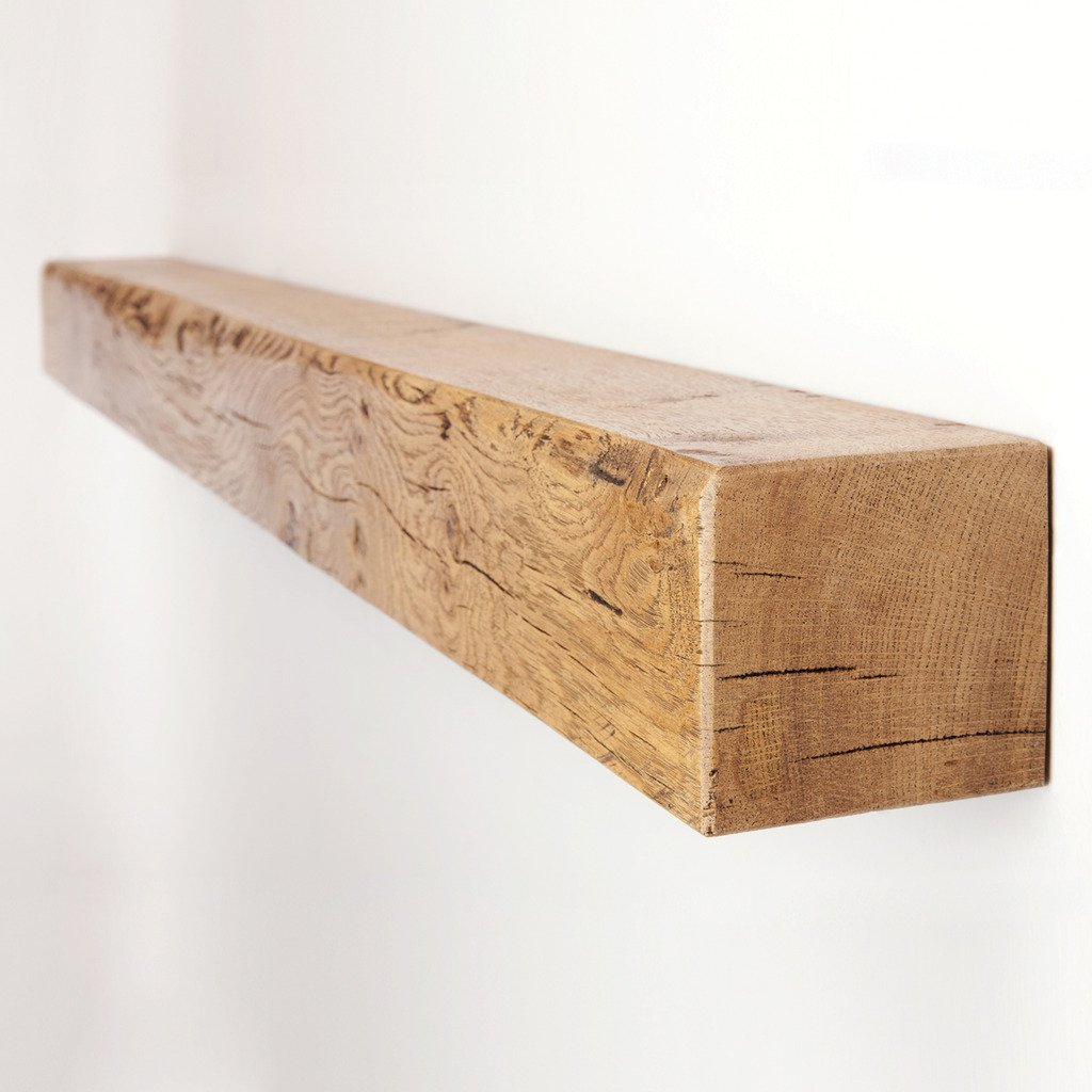 Funky Chunky Furniture 4x4 Solid Reclaimed Oak Floating Mantel Shelf, Natural Oak, 30cm