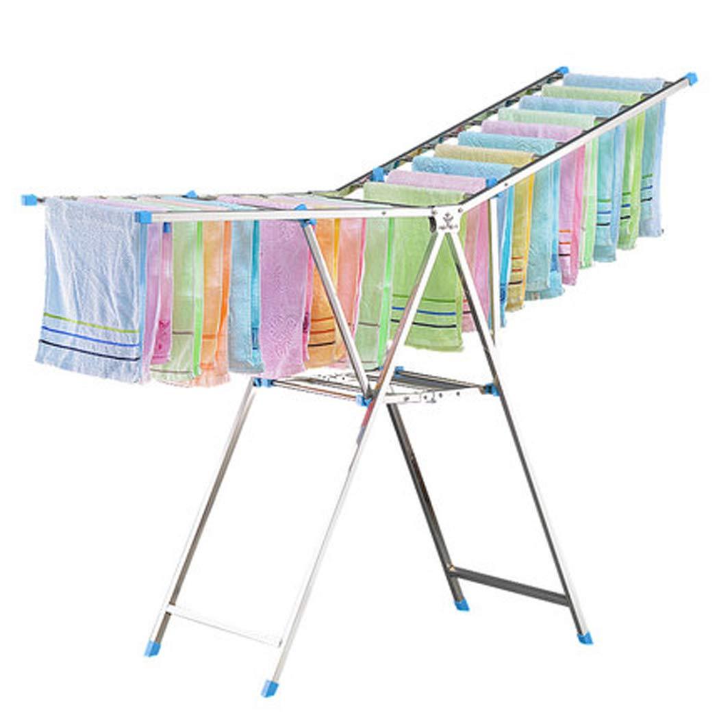 ステンレス鋼衣類乾燥ラック調節可能なガルウイングと折りたたみ式洗濯乾燥ラックは室内の屋外のための50おむつ衣服エアーダを乾燥させることができます B07S7D2V8N
