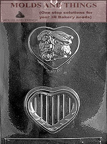 Heart chocolate candy mold BUNNY ON HEART POUR BOX Chocolate Candy mold With Copywrited Candy Making Instruction - LOP