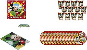 ALMACENESADAN 1075, Pack Fiesta o cumpleaños Disney Mickey Mouse, Compuesto por 1 Mantel Fiesta de plástico 120x180 cm, 20 servilletas de Papel, 12 Vasos y 12 Platos: Amazon.es: Juguetes y juegos