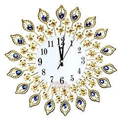 Metee: Luxury-Diamond-3D-Large-Wall-Clocks-Metal-Crystal-Living-Room-Art-Hanging-Clock