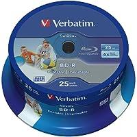 Verbatim 43811 25GB 6X BD-R SL Datalife Inkjet Printable - 25 Pack Spindle