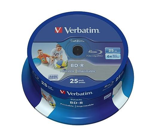 330 opinioni per Verbatim BD-R Blu Ray SL DataLife Type 25GB 6x Printable Stampabili campana da