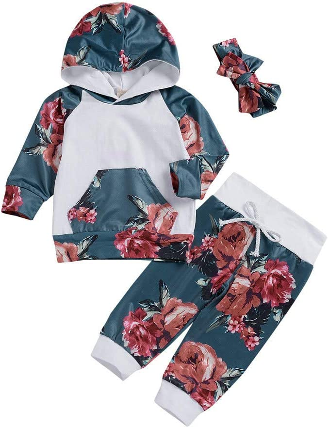 Wenjuan 2Pcs Set Sleepwear Toddler Baby Boy Girl Kids Floral Tops T-Shirt Pants Pajama