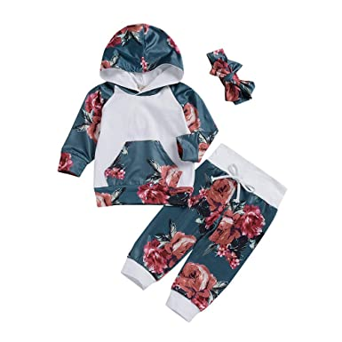 7695bb54d2ab Amazon.com  Keliay Newborn Infant Baby Boy Girl Floral Tops Hoodie ...