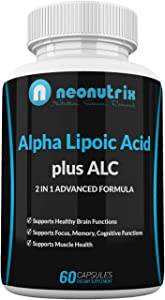 Alpha Lipoic Acid Plus Acetyl L-Carnitine Antioxidant Supplement ALA ALC for Healthy Brain Function & Muscle Strength, Focus, Memory & Cognitive Function for Women & Men - 60 Capsules by Neonutrix