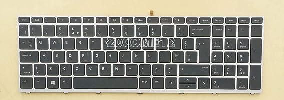 New For HP ProBook 650 G4 Keyboard Backlit No pointer Silver frame UK