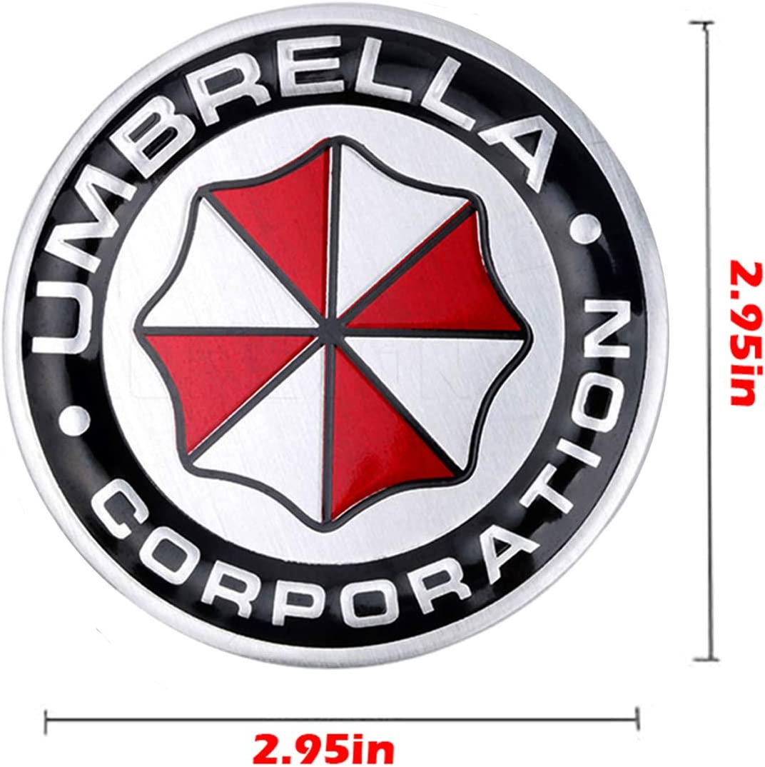 Style A-1 pcs YSpring Resident Evil Car Badge Decal 2.95in Dia Umbrella Corporation 3D Aluminum Alloy Circle Car Motorcycle Emblem Sticker