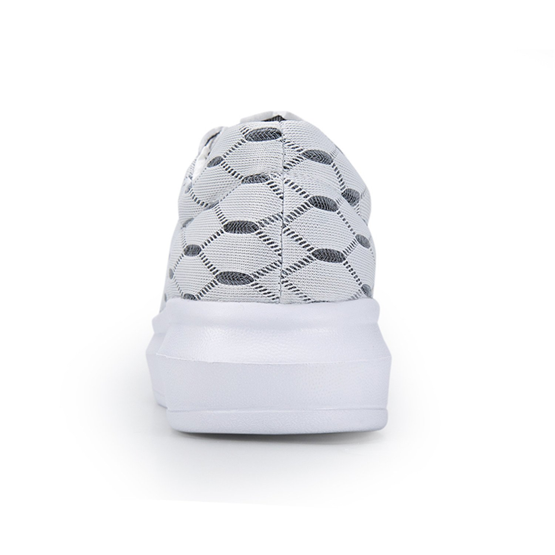 Feilongzaitianba Women Shoes Ladies Flats Round Toe Shoe Mesh Height Increasing Lace-Up