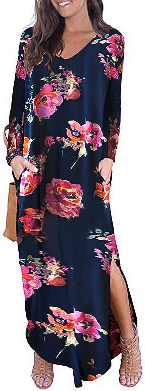 Kidsform Women's Short Sleeve Maxi Dress Casual Loose Long Dress V Neck Split Floral Solid Summer Beach Dress with Pockets