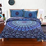 ASM Fashion Bohemian 3D Print Bedding Set Big Flower Style Bed Set 3 Piece Set with 2 Pillow Cases and 1 Duvet Cover.(Blue-Queen)