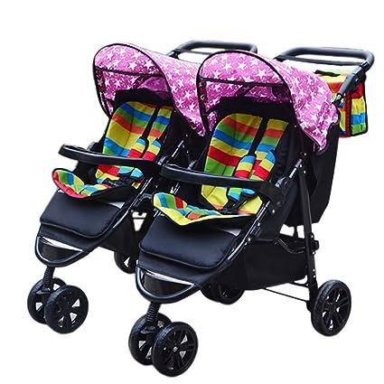 WJSWYE Cochecito Doble Carrito Multifunción De Tres Ruedas para Bebés Portátil Plegable Carrito Doble para Trotar