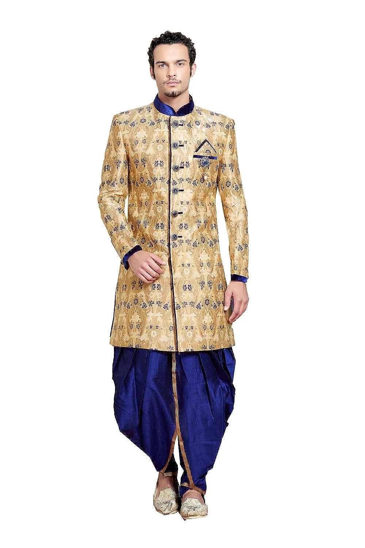 Sticking Exclusive Indian Wedding Sherwani For Men Party wear Dress bluee Silk