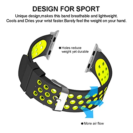 LifeBee Compatible Apple Watch Band 38mm 42mm, Silicone Sport Waterproof Strap Replacement iWatch Bands for Apple Watch Series 3/2/1 and Nike+ ...