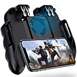 4 Triggers Mobile Game Controller with Cooling Fan Compatiple for PUBG/Fotnite [6 Finger Operation] L1R1 L2R2 Grip Gamepad Joystick Mobile Controller for iOS Android Phone