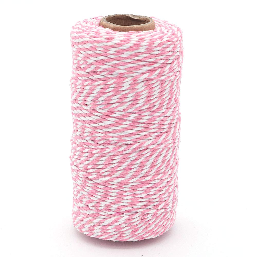 White WINGONEER 4pcs 100M Wine String Durable Cotton Bakers Twine Heavy Duty Cotton Crafts Twine 2 mm for Packing Twine String Decorations Pink