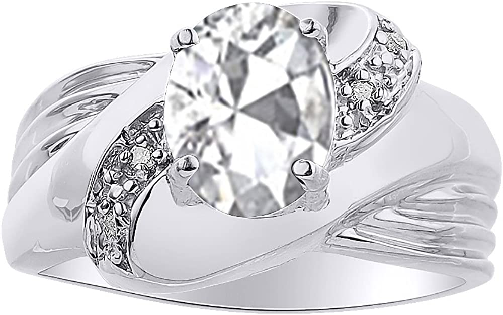 Anillo de plata de ley con diamantes y topacio blanco – Anillo de piedra de nacimiento de color