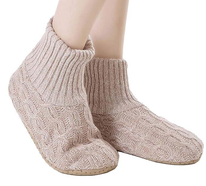 Calcetines de lana de invierno acolchados con terciopelo y calcetines cálidos (beige)