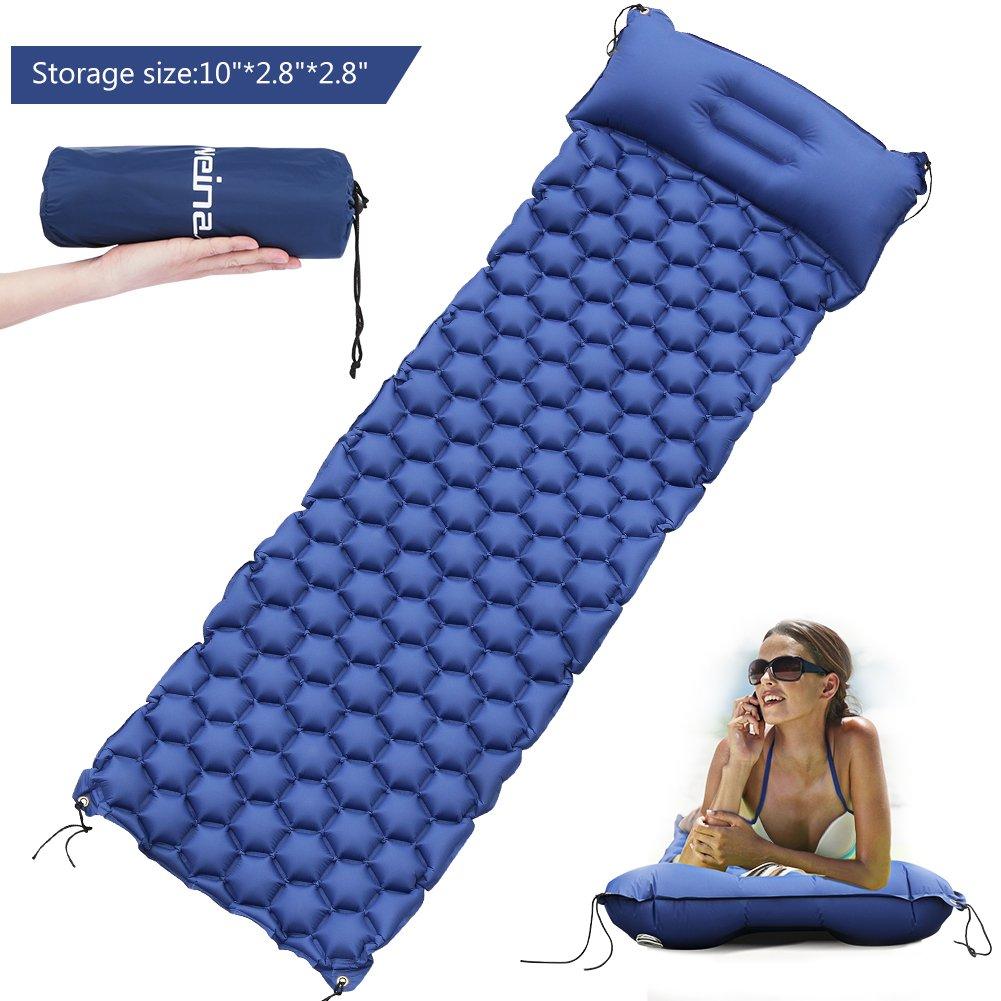 Colchón de Aire Esterillas inflables Colchón hinchable con Almohada Ligera WEINAS Colchoneta de Camping Portátil Cama al Aire Libre para Dormir Senderismo Acampada - Azul
