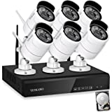 YESKAMO CCTV Camera Systems 1080P HD Wireless 6pcs IP Cameras Auto Pair NVR Recorder with Motion Activated Mobile App Remote View for Outdoor Home Security Kit with 2TB Hard Drive