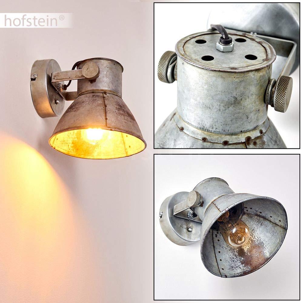 max compatible LED aspect rouille 25 Watts Applique Svanfolk en m/étal gris spot orientable au style industriel pour une ampoule E27