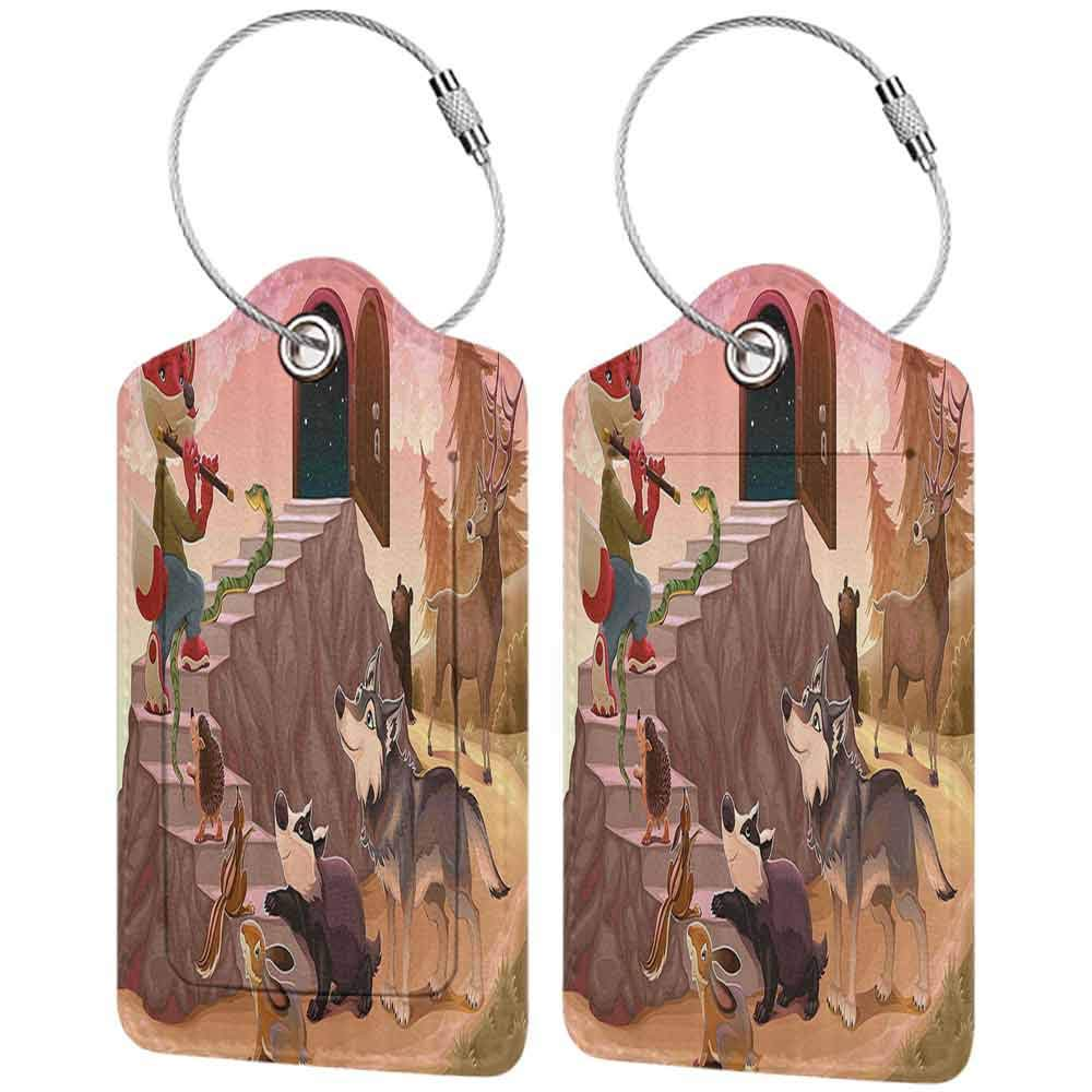 Printed luggage tag Animal Fairytale Theme a Fox is Playing the Flute Deer Snake Beer Wolf and Squirrel Print Protect personal privacy Multicolor W2.7 x L4.6