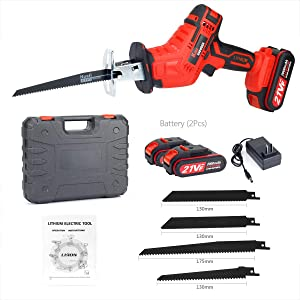 Reciprocating Saw with 2 Batteries, 4 PCS Saw Blades, Ideal for Wood and Metal Cutting, 21V 2000mAh Cordless Saw Electric Saw