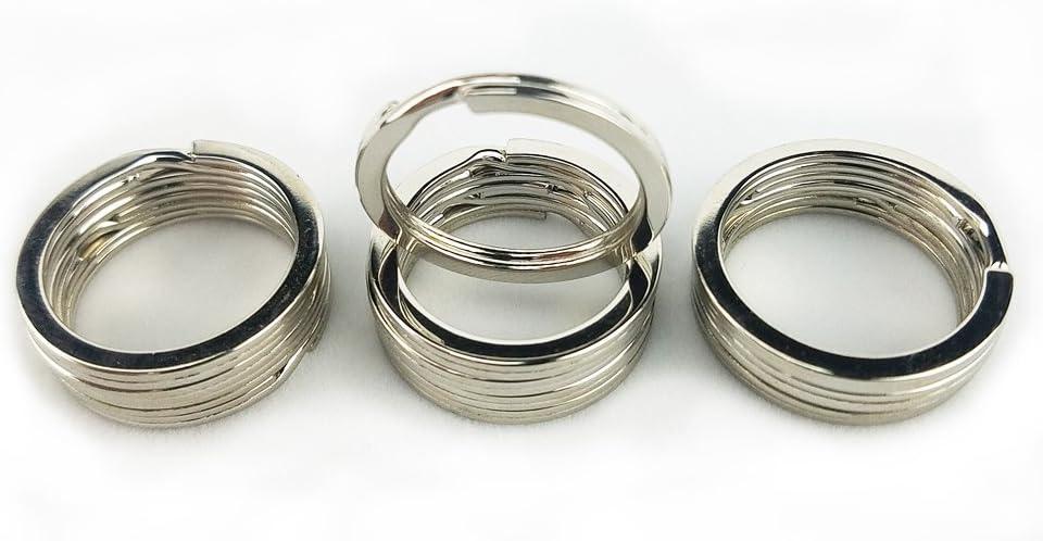 Key Rings - Metal Flat Split Key Chains Rings for Home Car Keys Attachment (1 Inch/25mm,Silver,50PCS/Box)