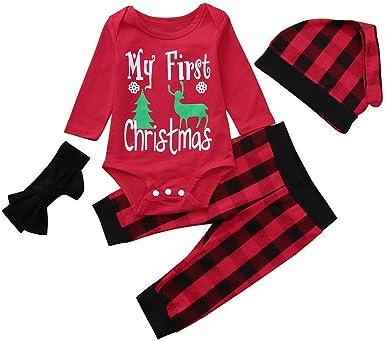 Newborn Baby Boy Girls My 1st Christmas Pyjamas Romper Pants Hat 4PCS Outfit Set