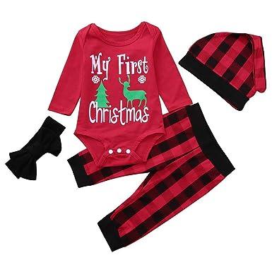 Newborn Christmas Pajamas Sets Infant Baby Long Sleeve Letter Romper Plaid  Pants Hat Headband 4PCS Outfits aca8335fef08