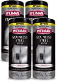 Weiman Stainless Steel Cleaner Wipes (4 Pack) Removes Fingerprints, Residue, Water Marks and Grease from Appliances…