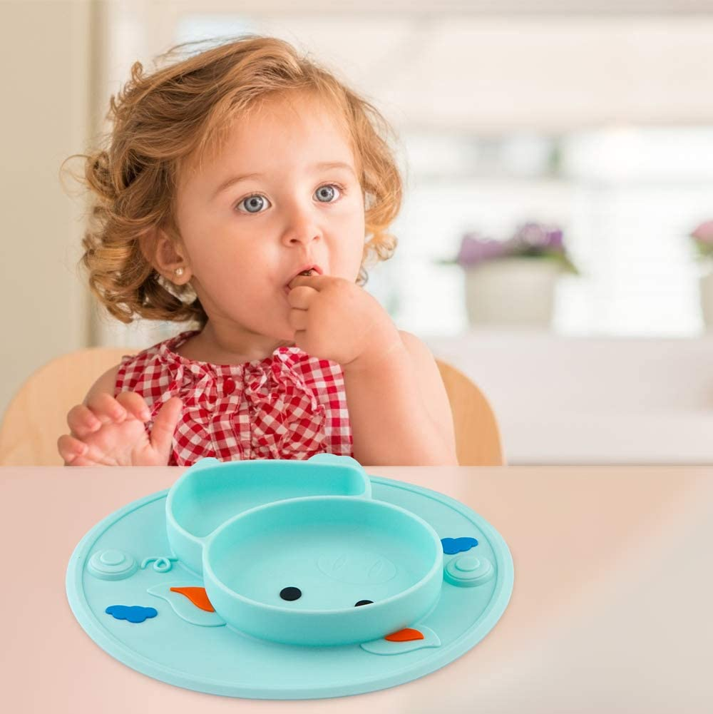 Assiettes en silicone pour b/éb/és enfants en bas /âge et enfants Qshare 100/% sans BPA et approuv/ées par la FDA aspiration forte /à la table lave-vaisselle et au micro-ondes