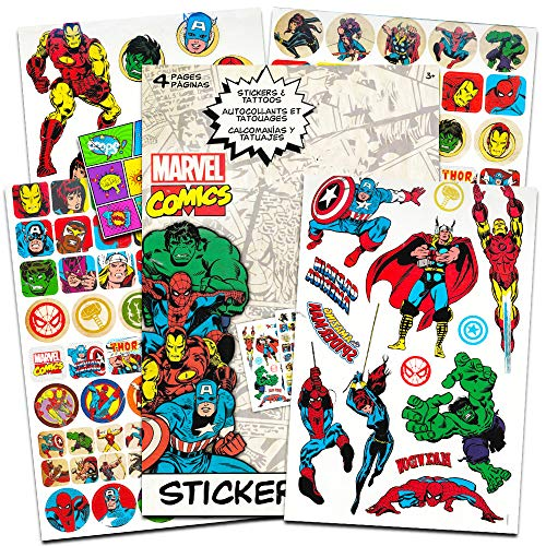 Marvel Comics Avengers Fun Set Bundle -- 110 Marvel Heroes Stickers and 26 Temporary Tattoos with Separately Licensed Specialty Popart Sticker (Marvel Legends Party Supplies) -