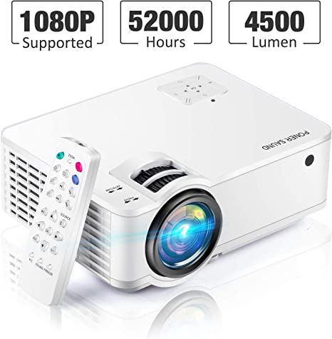 Mini Projector [2020 Updated], Projector 1080P Supported, 4500 Lux 210