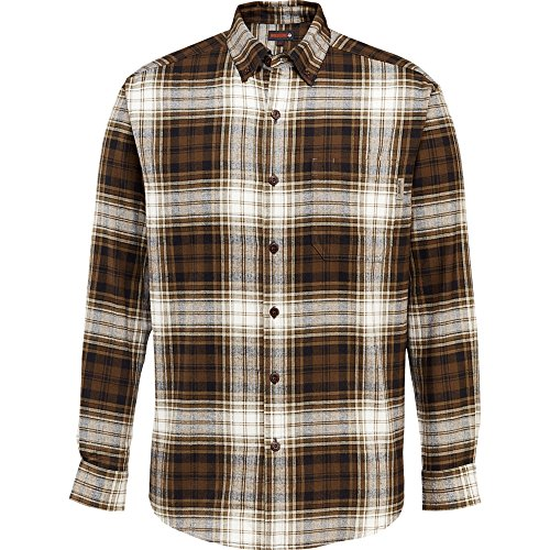 Wolverine Men's Rogan Long Sleeve Flannel Shirt, Brown Plaid, Medium ()