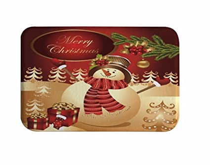 Christmas Backgrounds Cute.A Monamour Red Backgrounds Cute Snowman Wearing Scarf Hat Pine Tree Christmas Print Soft Water Absorbing Flannel Anti Skid Decorative Doormat Entrance
