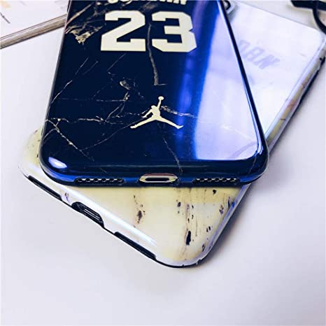 iPhone 11 - Glossy Marble 23 Jordan Case + Flexible TPU Soft Silicone Rubber Material & Cracked Cement Granite Design with Smooth, Shiny, Reflective ...