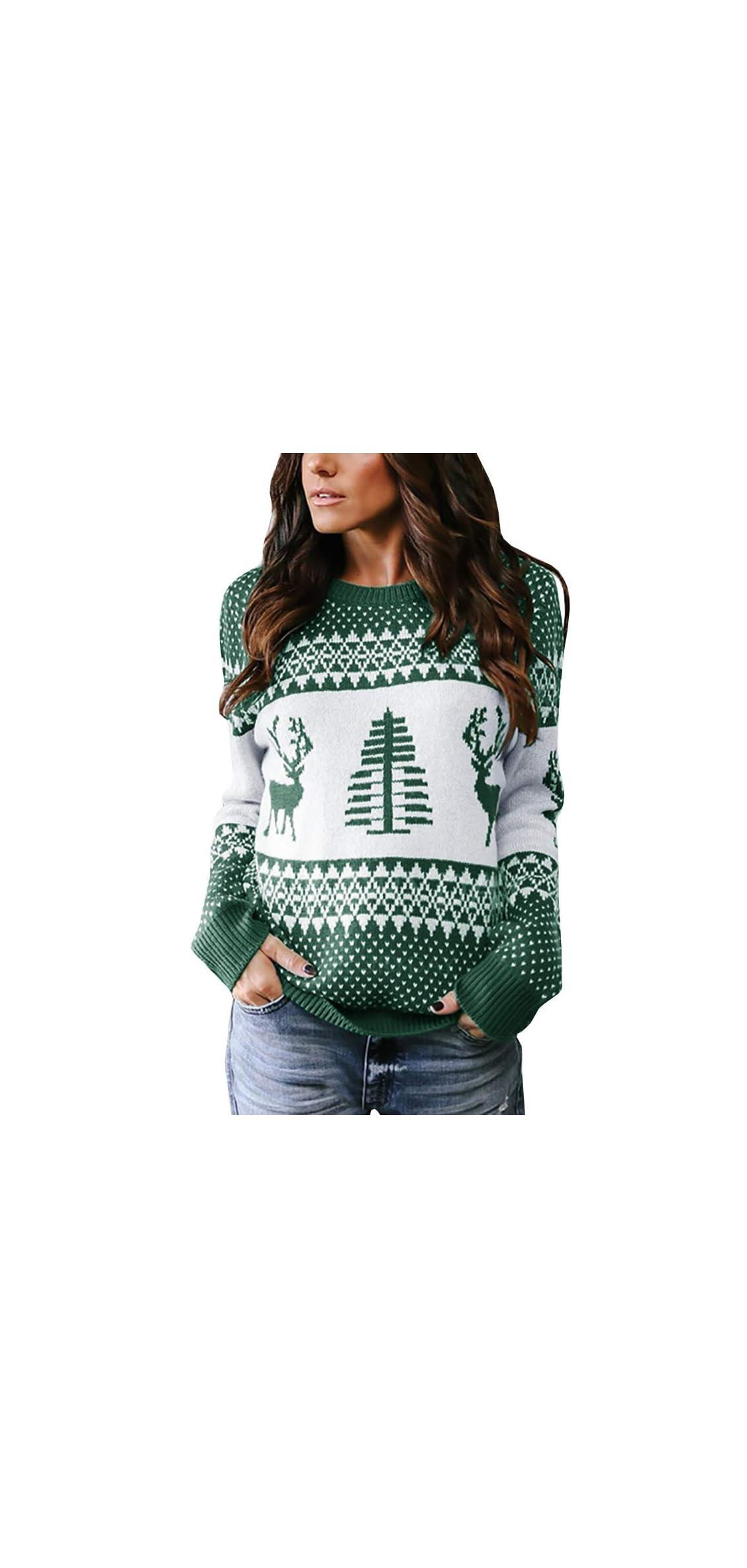 Womens Ugly Christmas Sweater Xmas Tree Reindeer Crewneck Cable