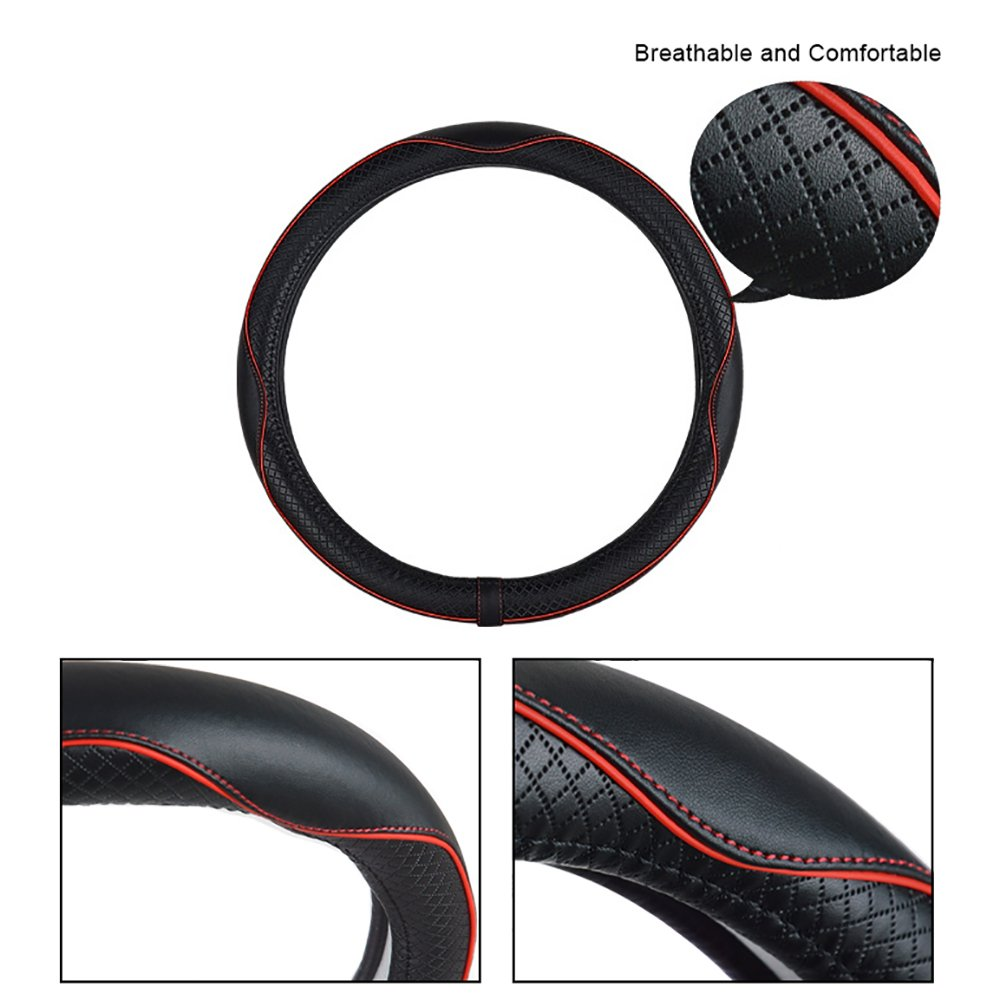 FREESOO Coprivolante Traspirante Antiscivolo Copertura di Volante Universale 38cm Accessori dellautomobile Rosso Nero