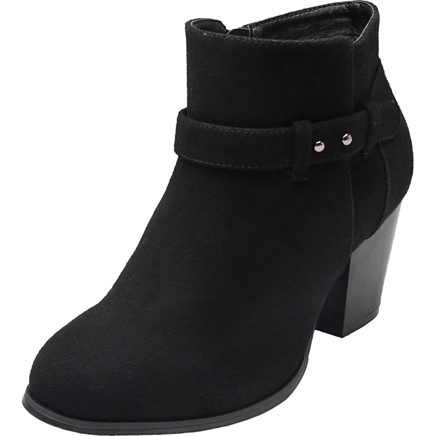 Plus Size Wide Width Ankle Boots for Women Mid Chunky Block Stacked Heels  Round Toe Slip on Side Zip