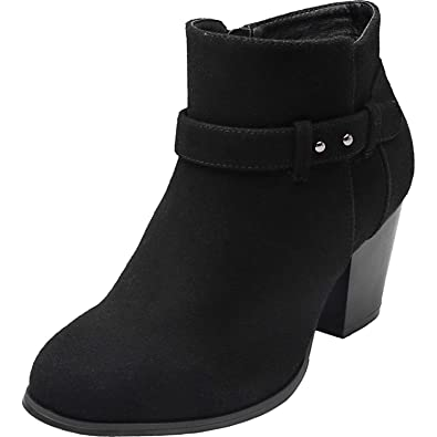 be0e690de64 Luoika Women s Wide Width Ankle Boots - Side Zipper Buckle Strap Mid Block Heel  Round Closed