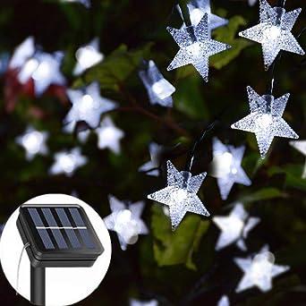 Guirnalda de luces solares para jardín, 23 pies, 50 luces LED, funciona con energía solar, resistente al agua, 8 modos, luz decorativa para jardín, patio, hogar, boda, fiesta: Amazon.es: Iluminación