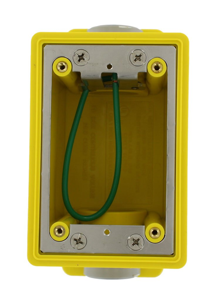 Leviton FDBX1-Y FD Box, Single-Gang, 26.0 Cubic Inch Capacity, 1-Inch NPT Openings, Includes Plugs and Stainless Steel Device Mounting Plate, Yellow