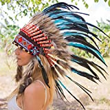 Novum Crafts Feather Headdress | Native American Indian Inspired | Turquoise
