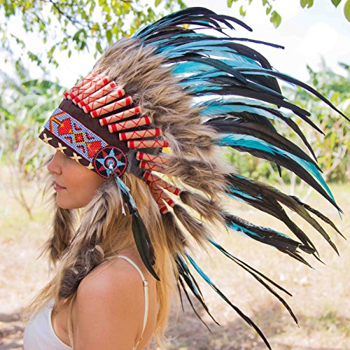 Novum Crafts Feather Headdress | Native American Indian Inspired | Turquoise (Balinese Hat)