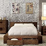 247SHOPATHOME IDF-7629Q-6PC Bedroom-Furniture-Sets, Queen, Walnut
