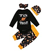 4Pcs/Set Newborn Infant Baby Boy Girl Trick Or Treat Bodysuit+Candy Pants with Hat Headband (6-12 Months, Black)